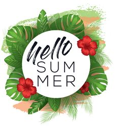 Free Hello Summer Vector Poster Royalty Free Stock Image - 89214696