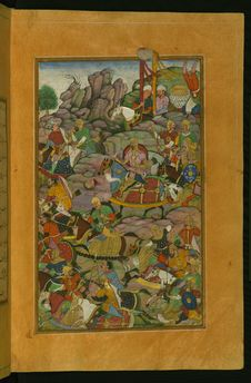 Free The Final Phase Of The Battle Of Kandahar On The Side Of The Murghan Mountain, From Illuminated Manuscript Baburnama &x28;Memoirs Royalty Free Stock Image - 89249666