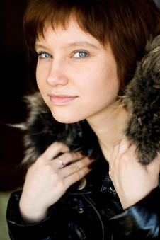 Girl With Fur Royalty Free Stock Photography