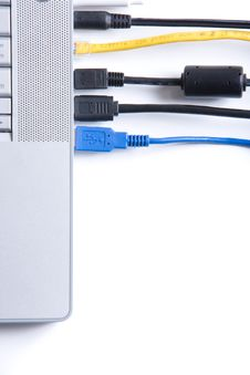 Free Wires Connected To A Modern Laptop Stock Photography - 8931422