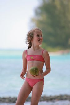 Free Girl Holding Coconut Stock Images - 8931524
