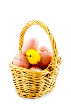 Free Small Basket With Eggs And A Eastern Chicken Royalty Free Stock Photo - 8931935
