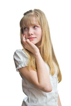 Free Blonde Girl Is Talking To Mobile Phone Stock Image - 8932451