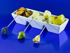 Free Mussels, Artichokes And Gherkins On Blue Backgroun Royalty Free Stock Image - 8932456