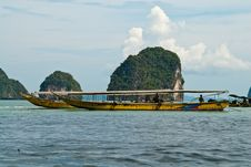 Traditional Thai Tourist Wooden Boats At The Sea Stock Photos