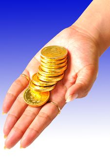 Free Coins On Hand Royalty Free Stock Images - 8933699