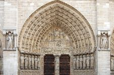 Facade Of Notre Dame Cathedral Stock Photography