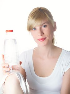 The Girl With Bottle Stock Photos