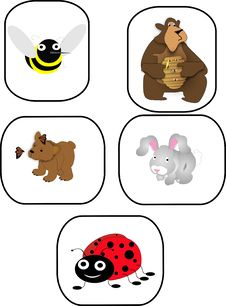 Free Bee, Bears, Rabbit And Ladybug Cartoon Characters Stock Image - 8935311