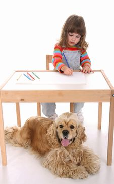 Free Beauty A Little Girl And Dog Stock Images - 8936084