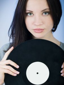 Free Girl With Record Stock Image - 8936971