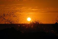 Free Sunset With Waves Crashing Stock Photo - 8937060