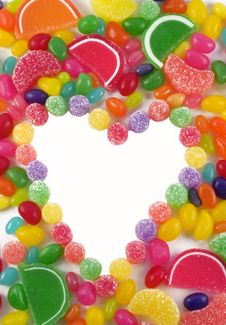 Free Assorted Candy Framed Heart Stock Image - 8939671