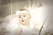 Free Baby In White Tank Dress And Headband Stock Photography - 89304922
