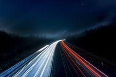 Free Light Trails On Highway At Night Stock Photography - 89305512