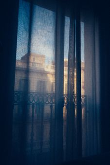 Free Balcony Window With Curtains Stock Photography - 89306502