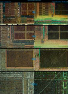 Free Pentium4_northwood_compare_of_etching_and_lapping_with_microscope Stock Photos - 89369993