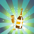 Free Wine Bottle And Glass Royalty Free Stock Photography - 8940797