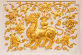 Free Lion In Traditional Thai Style Molding Art Stock Photography - 8941542