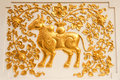 Free Cow In Traditional Thai Style Molding Art Royalty Free Stock Photos - 8941638