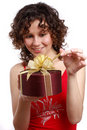 Free Surprise. Woman With Gift. Stock Images - 8949654