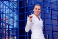 Free Business Women In White With Keys Stock Photo - 8949810