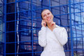 Free Business Women In White With Telephone Stock Photo - 8949830