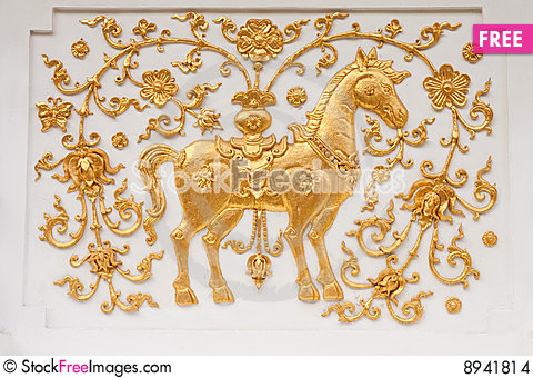 Free Horse In Traditional Thai Style Molding Art Stock Images - 8941814