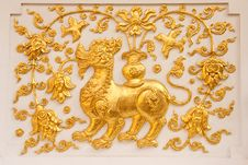 Lion In Traditional Thai Style Molding Art Stock Photography