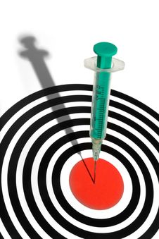 Syringe In A Dartboard Royalty Free Stock Photos