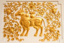 Cow In Traditional Thai Style Molding Art Royalty Free Stock Photos