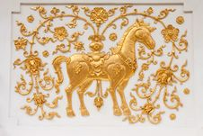 Horse In Traditional Thai Style Molding Art Stock Images