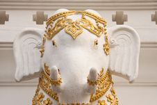 Free Elephant In Traditional Thai Style Molding Art Stock Photography - 8942392