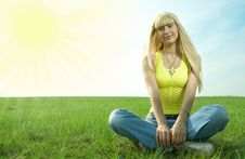 Woman In Field Hold Hand Palm Up Royalty Free Stock Photo