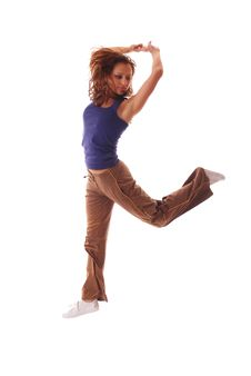 Free Attractive Teenage Dancing Over White Background Royalty Free Stock Image - 8945816