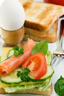 Free Toasts With Salmon. Stock Photography - 8947502