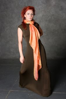 Free The Girl In A Long Dress With An Orange Scarf Stock Photos - 8947843