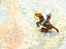 Indian Toys On Map Royalty Free Stock Photos