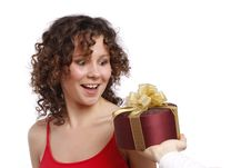 Free Surprise. Woman With Gift. Stock Photo - 8948110