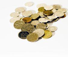 Free Coins On White Background Stock Photo - 8949530