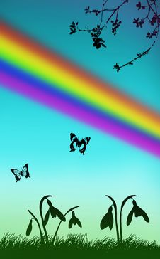 Free Spring Illustration Snowdrops Butterfly Rainbow Stock Photography - 8949992