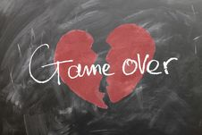 Free Broken Heart With Game Over Text Royalty Free Stock Images - 89441359