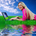 Free Beautiful Girl With Laptop On The Green Grass Royalty Free Stock Image - 8951836
