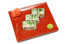 Free Plate With Six Rolls, Ginger And Wasabi Royalty Free Stock Photography - 8950507