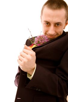 Man With Flowers Stock Images