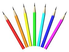 Free Seven Color Pencils Royalty Free Stock Photography - 8950897