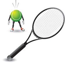 Free Tennis Racket And Tennis Ball Character Royalty Free Stock Images - 8951219