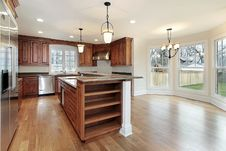 Kitchen In New Construction Home Stock Photos