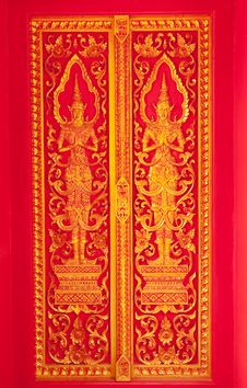 Free Traditional Thai Art Church Door Royalty Free Stock Photography - 8952087