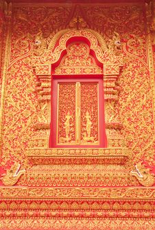 Free Traditional Thai Art Church Door Stock Images - 8952564